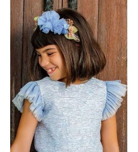 Diadema flores azulón tul