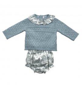 Conjunto suéter punto braguita estampada