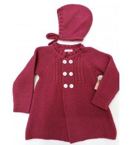 Abrigo punto bebé cereza