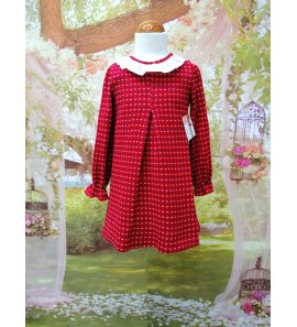 Vestido M/L suelto punto rojo estampado