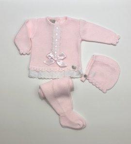 Conjunto 3 piezas lana rosa lazo