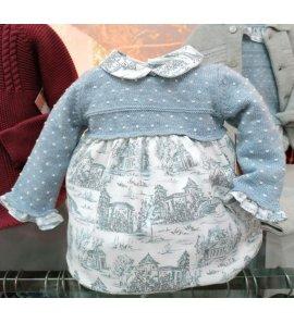 Pelele bebé punto estampado azul