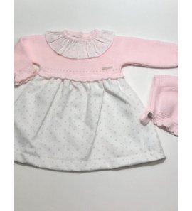 Vestido punto rosa tela estrellitas con capota