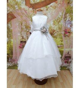 Vestido corto comunión cuerpo bordado falda volantes asimétrica