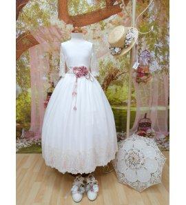 Vestido m/f bordado detalle rosa