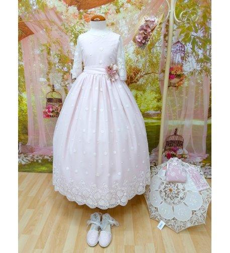 Vestido COMUNIÓN romántico maquillaje y bordado