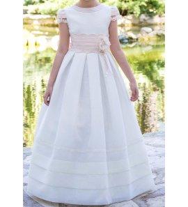 Vestido comunión muselina lorzas rosas