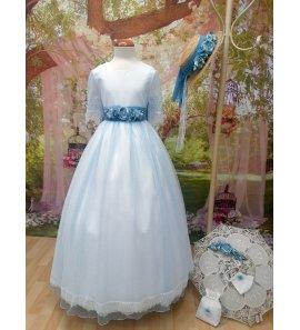 Vestido tul plumetti celeste flores