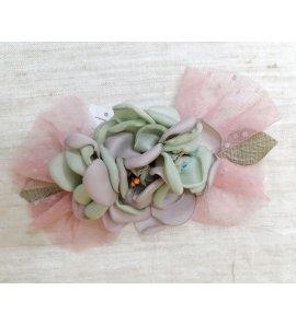 Detalle vestido flores verde/maquillaje tul plumetti