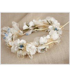 Corona flores azul/crudo