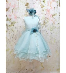 Vestido muselina asimétrico azul hielo