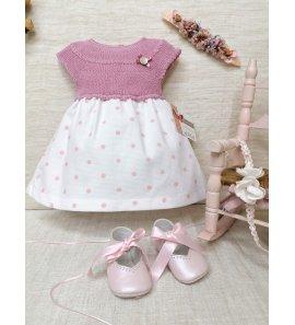 Vestido bebé cuerpo punto faldar topos rosa