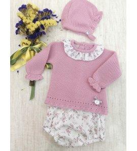 Conjunto bebé 3 piezas lana flores