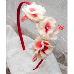 Diadema 3 flores CORAL