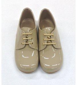 Zapato cordón charol visón