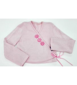 Chaqueta lana flores ROSA