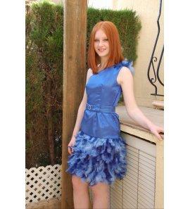 Vestido EXCLUSIVO MODISTO plumas azul