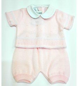 Conjunto perle pantalón corto rosa