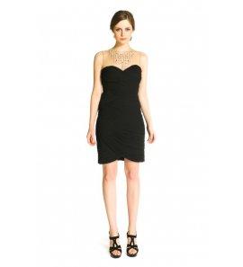 Vestido mujer drapeado negro-pedreria