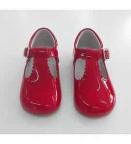 Sandalia charol rojo