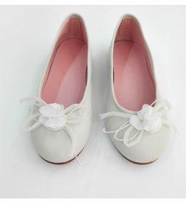 Bailarina comunión beige flor