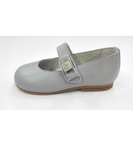 Zapato piel gris perla