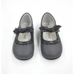 Zapato piel gris osc.