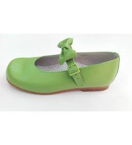 Zapato piel pistacho lazo