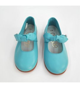 Zapato piel lazo TURQUESA
