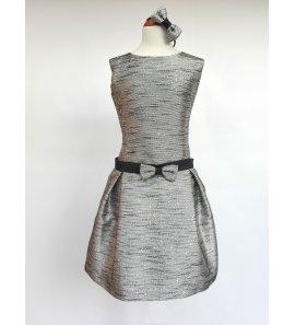 Vestido talle bajo negro/plata