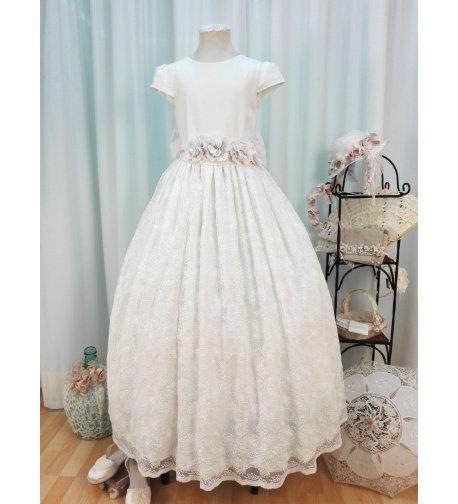 Vestido comunion lino y encaje bordado