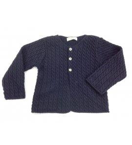 Chaqueta lana niño azul marino trenzada