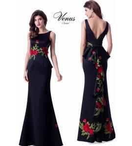 Vestido largo negro flores rojas