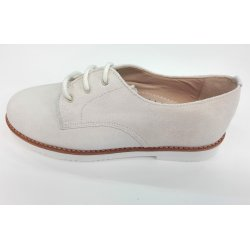 Zapato cordón serraje beige