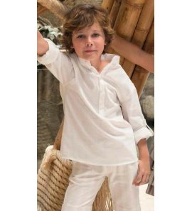 Camisa lino marfil m/l
