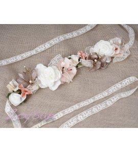 Corona flores marfil/rosa