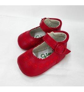Zapato bebé piel rojo