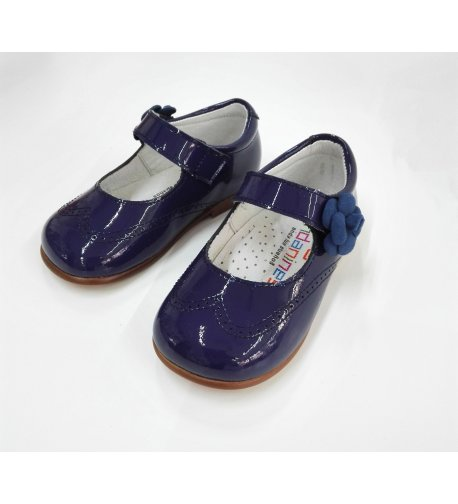 Zapato piel charol azulón