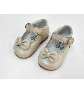 Zapato piel nacar visón