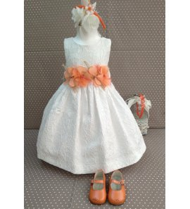 Vestido adamascado blanco flores naranja
