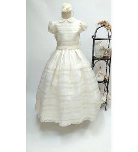 Vestido COMUNIÓN clásico organza beige