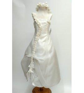 Vestido largo organza marfil