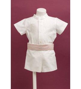 Conjunto lino niño marfil puntilla camisa