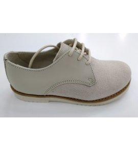 Zapato niño lino piel