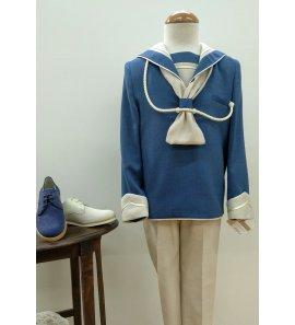 Marinero lino seda combinado azul tinta/visón