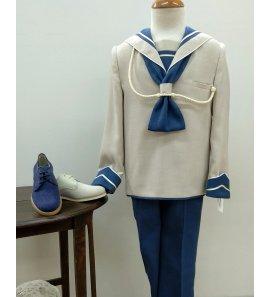 Marinero lino seda combinado visón/azul