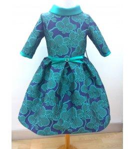Vestido m/f adamascado verde/marino