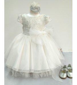 Vestido tul blanco cuerpo hilo plata