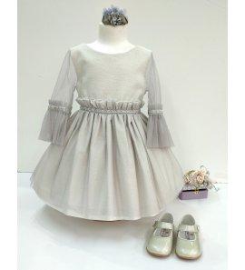 Vestido m/f tul plata