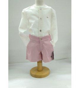 Camisa cuello/mao lino beige